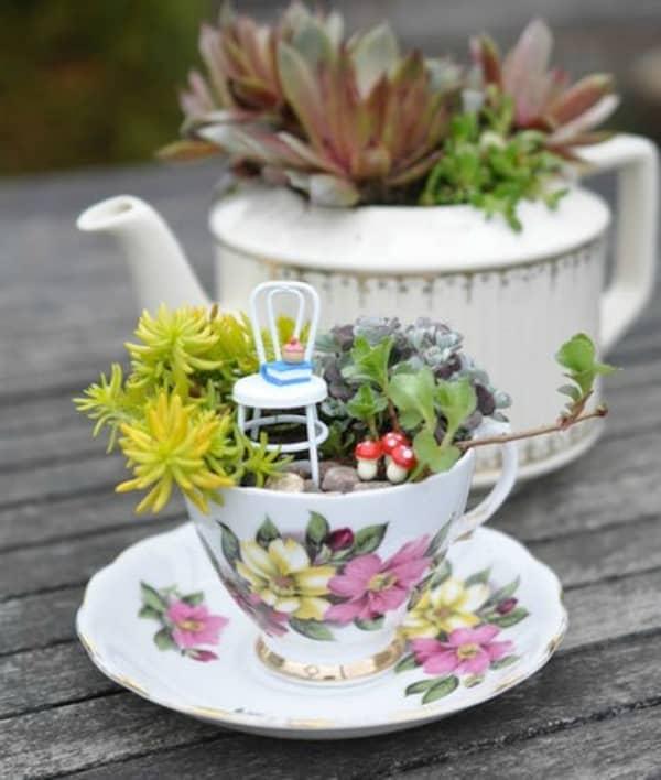 Teacup fairy garden diy 2