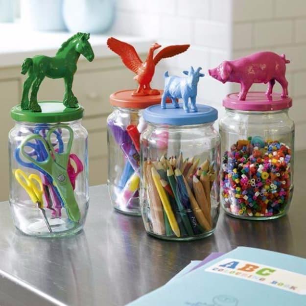 Animal topped mason jars to store craft supplies