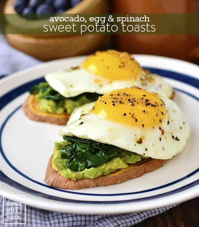 Avocado egg and spinach sweet potato toasts