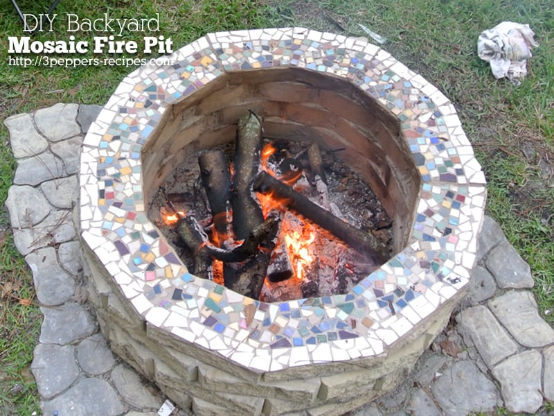 Backyard mosaic firepit diy