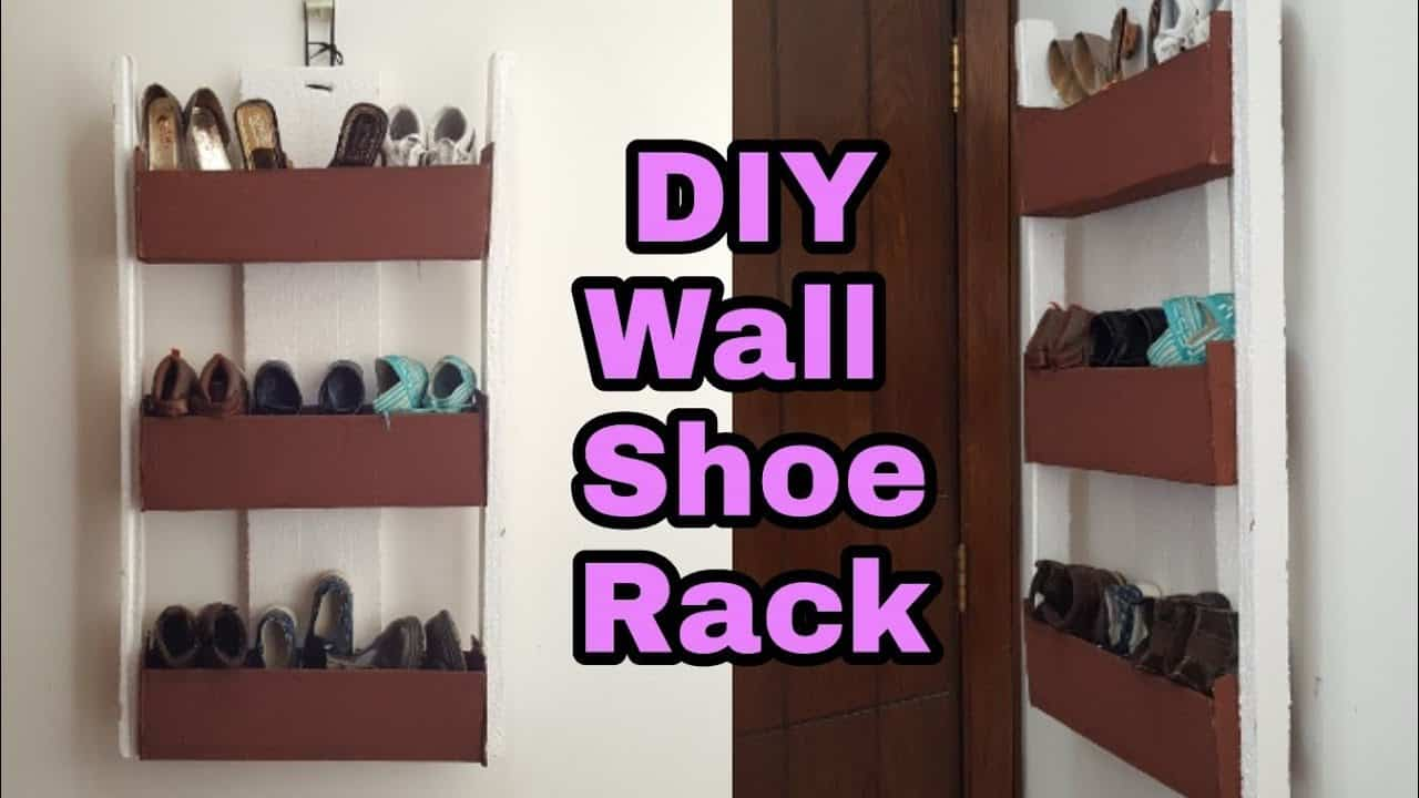Behind the door hanging cardboard shoe rack