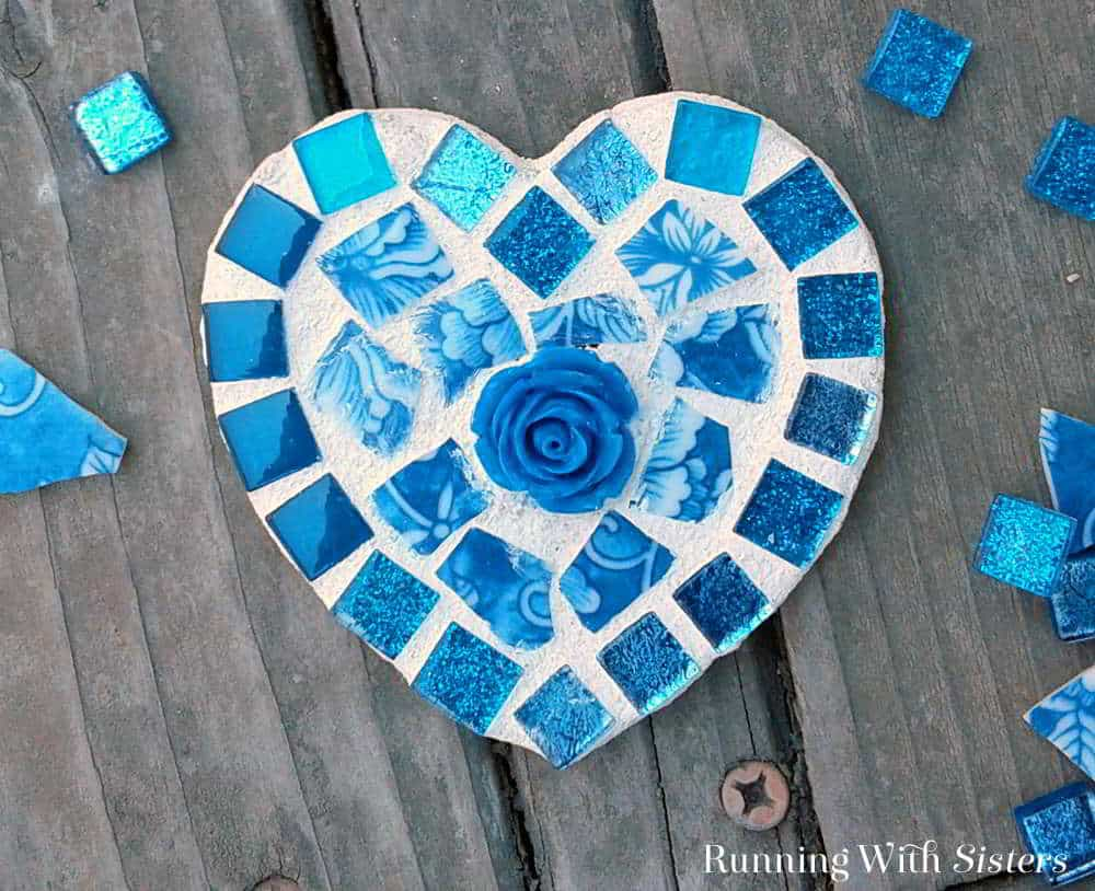 Broken china heart mosaic blue