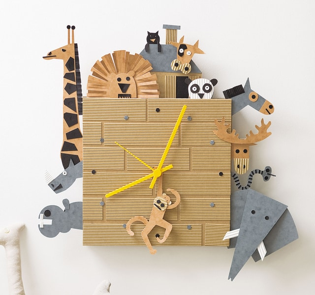 Cardboard box animal clock