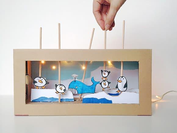 Cardboard box puppet show