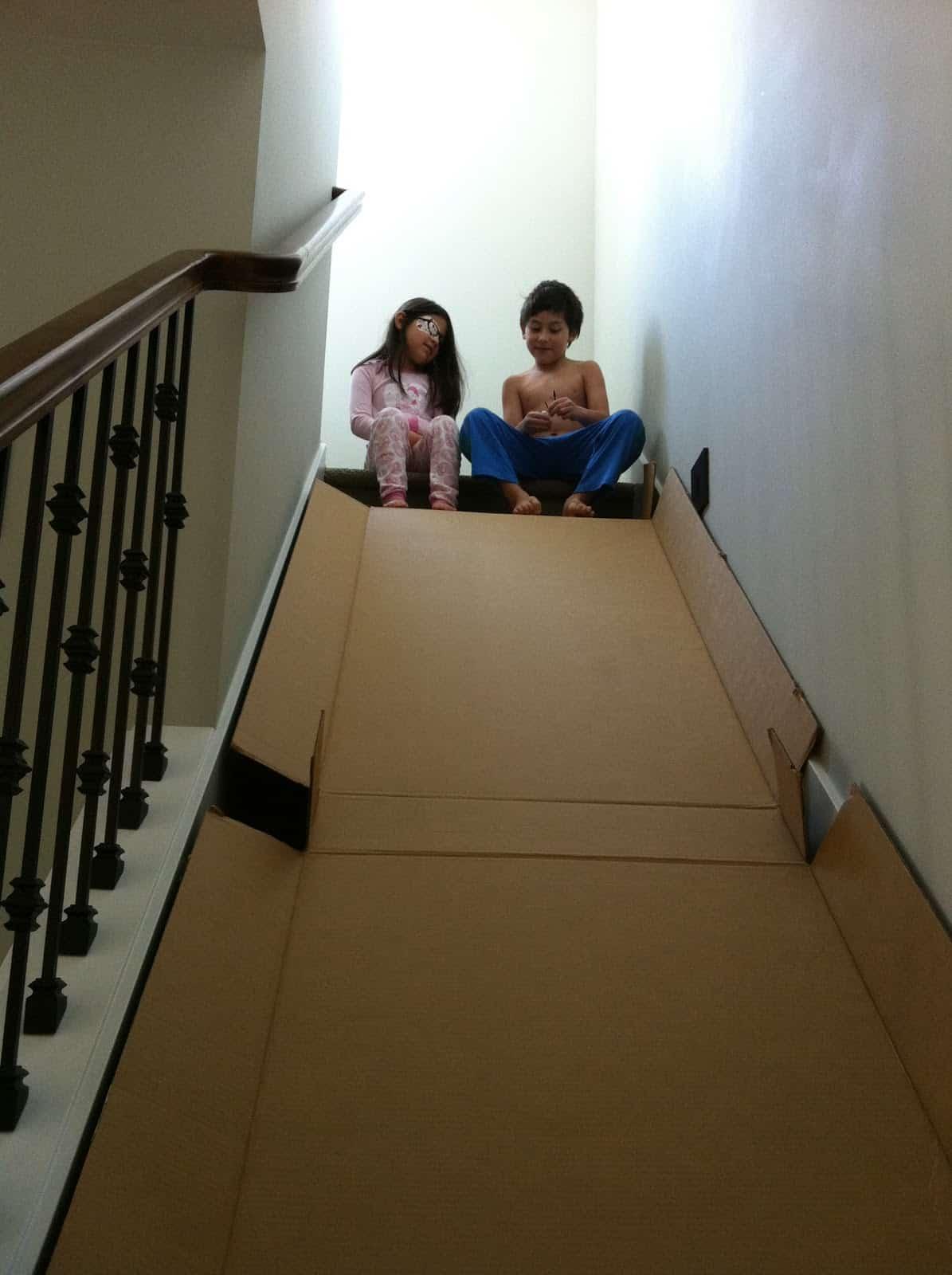 Cardboard staircase slide