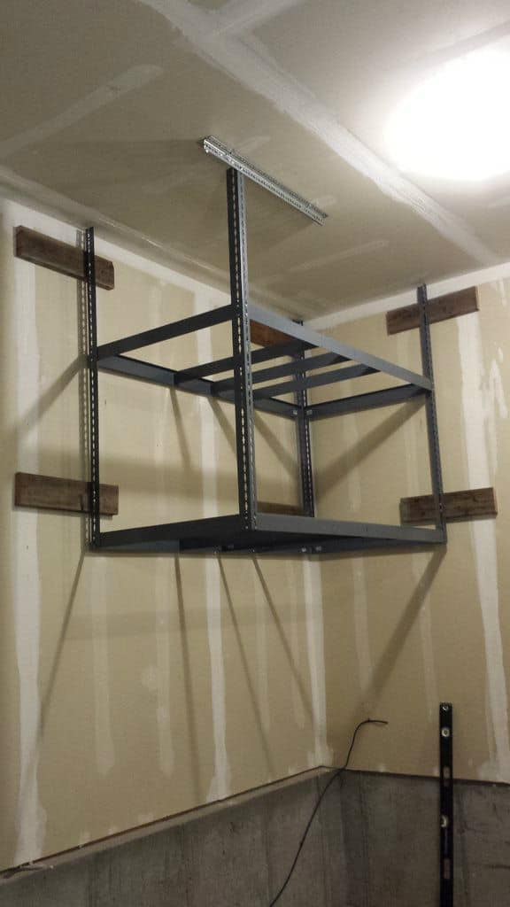 Ceiling corner metal shelf storage