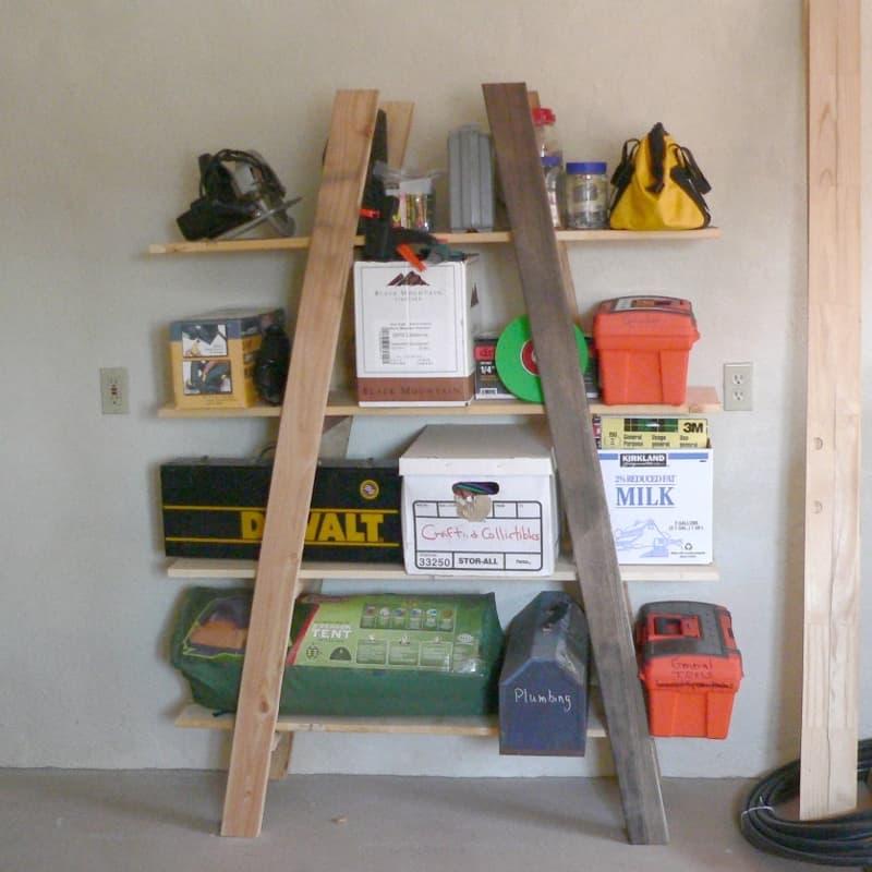 Cheap diy truss shelf garage storage