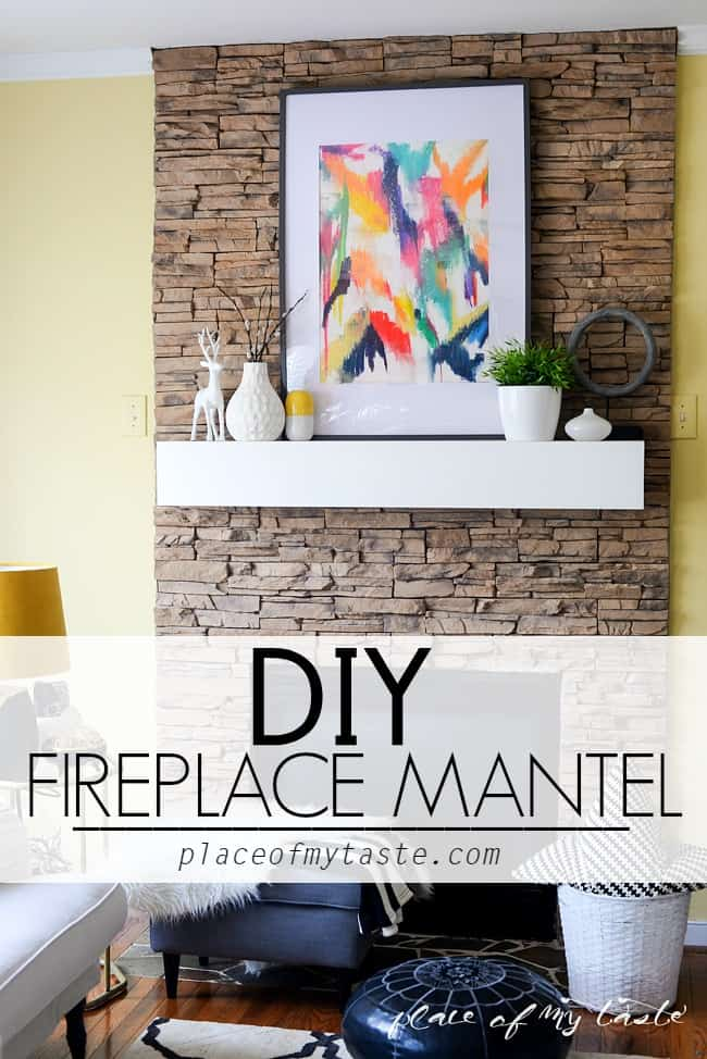 Chunky white mantel on a stone fireplace