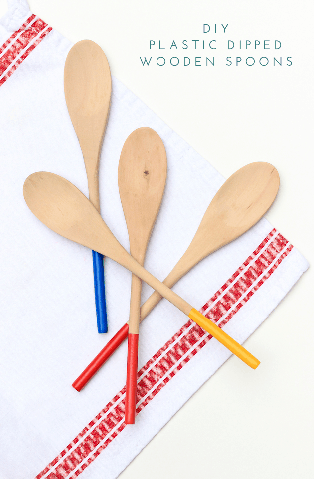 Colourful plastic dipped wooden spoons