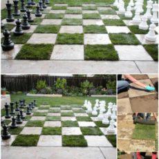 Concrete and sod lawn chess board