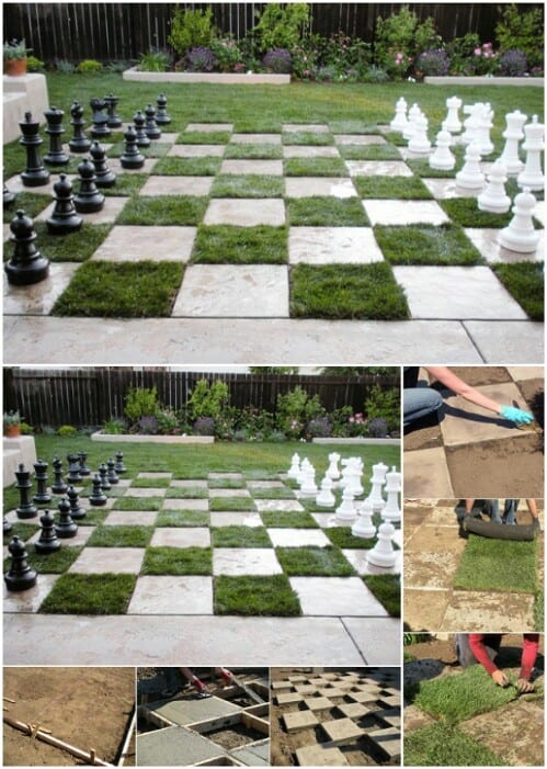 Concrete and sod lawn chess board