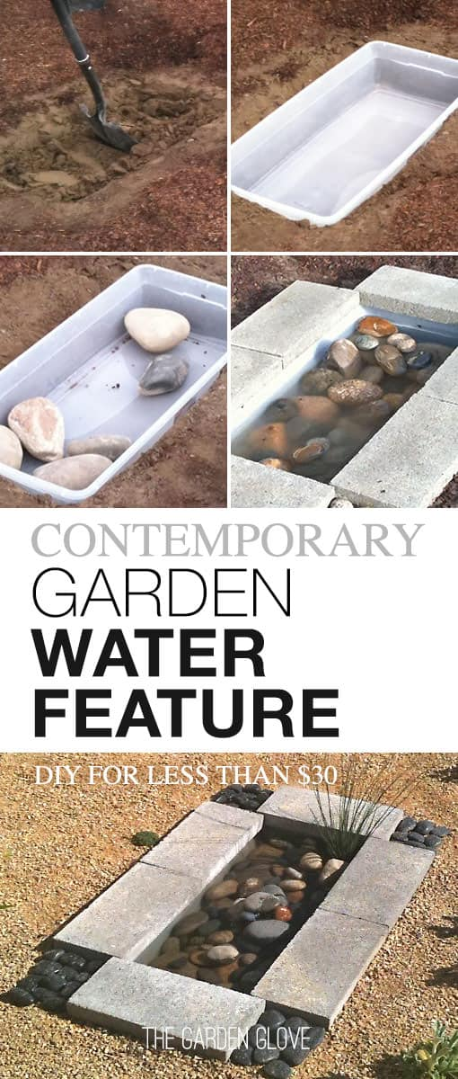 Contemporary concrete and stone pond from a plastic tote