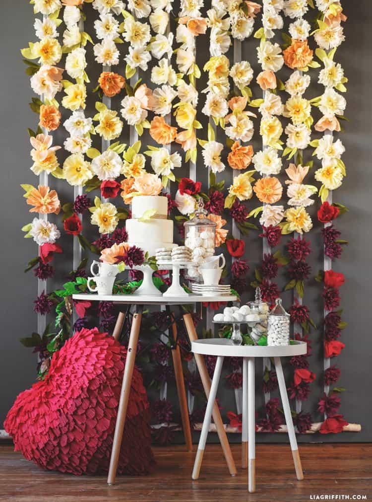 Crepe paper flower backdrop