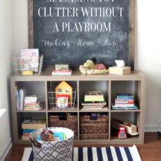 Cubby shelves as playroom storage