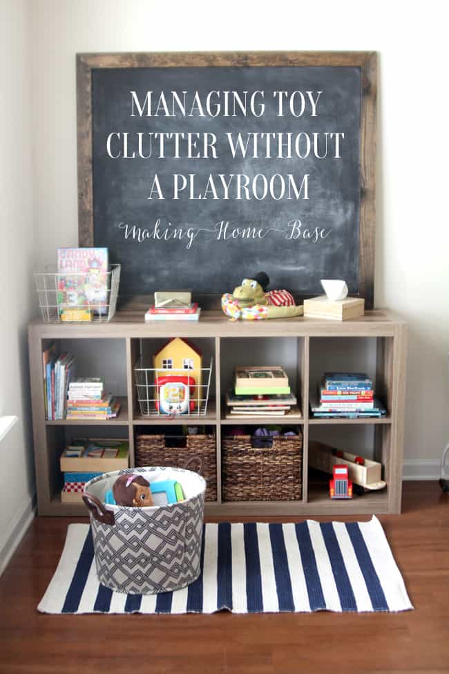 Cubby shelves as playroom storage