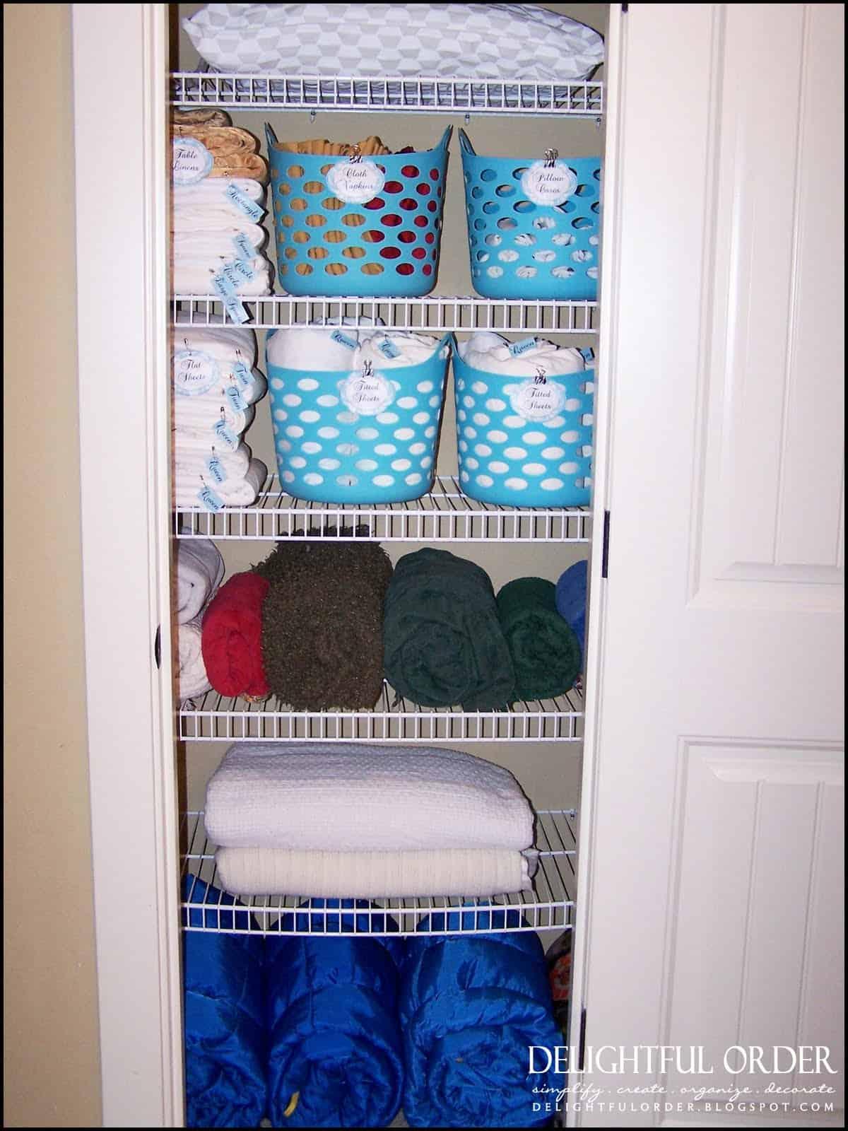 Custom bahroom linen closet shelf organizers