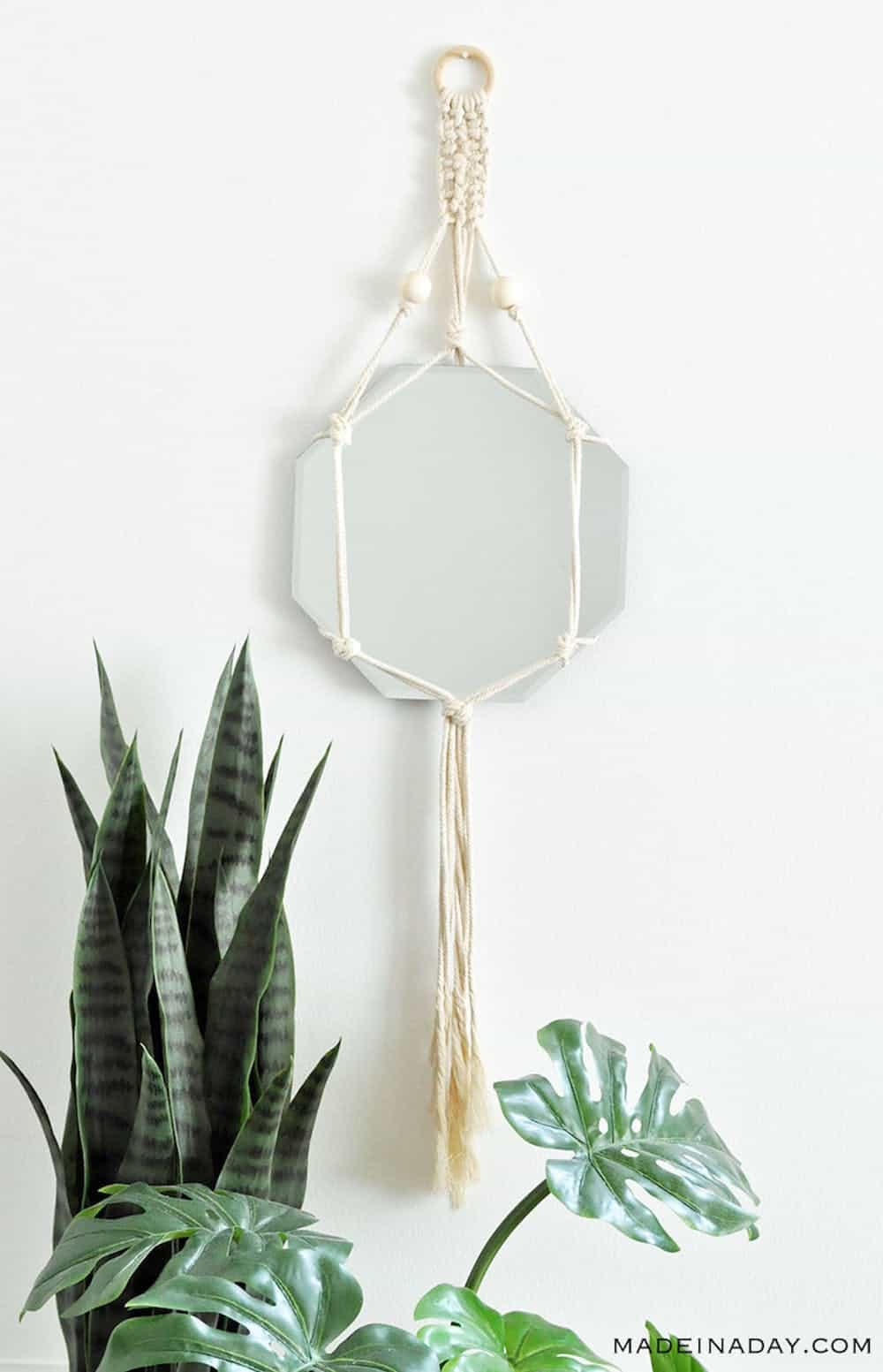Diy boho macrame mirror wall hanging