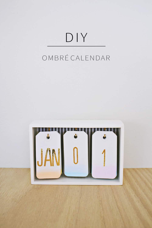 Diy desk calendar ombre