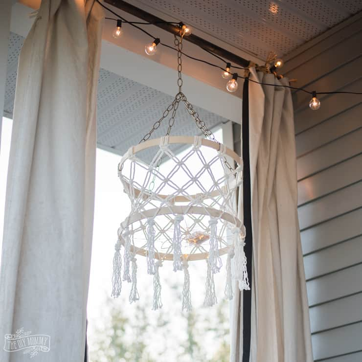 Diy macrame boho chandelier with fairy lights