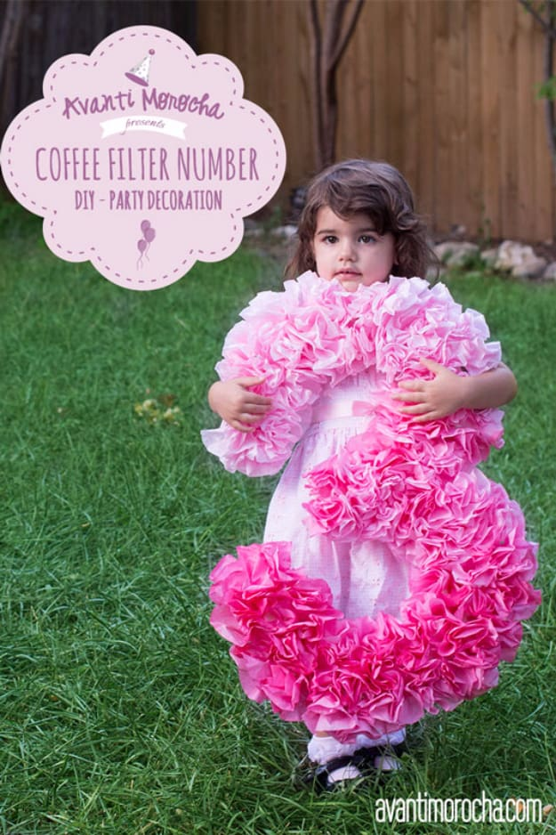 Diy coffee filter party numbers