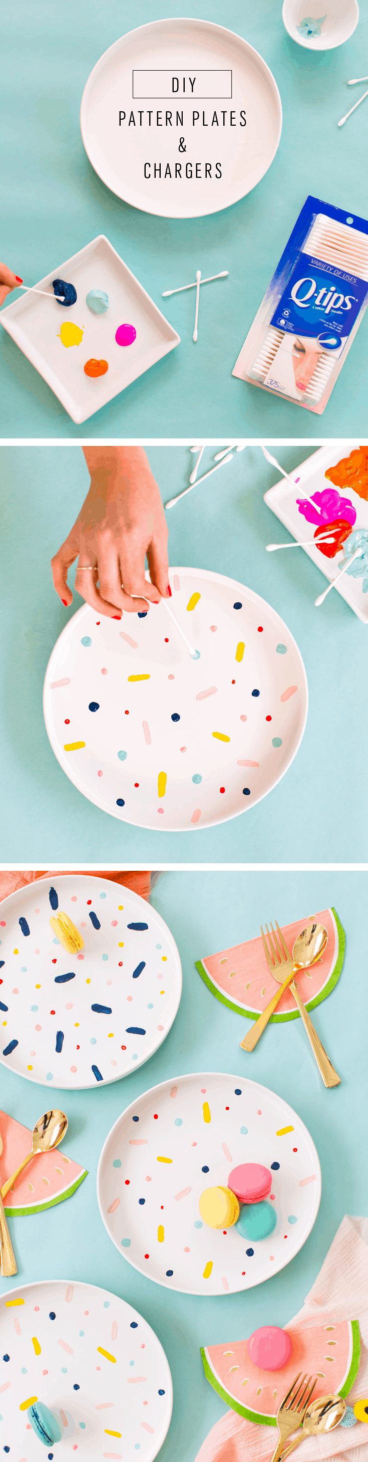 Diy confetti patterned charger plates