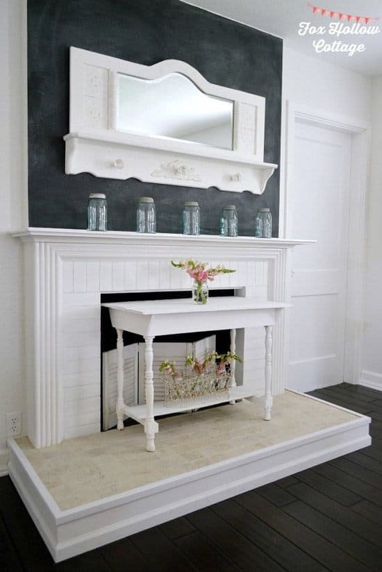 Diy fireplace mantel and hearth table makeover
