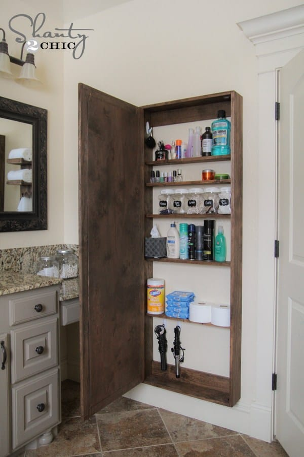 Diy full length bathroom mirror storage
