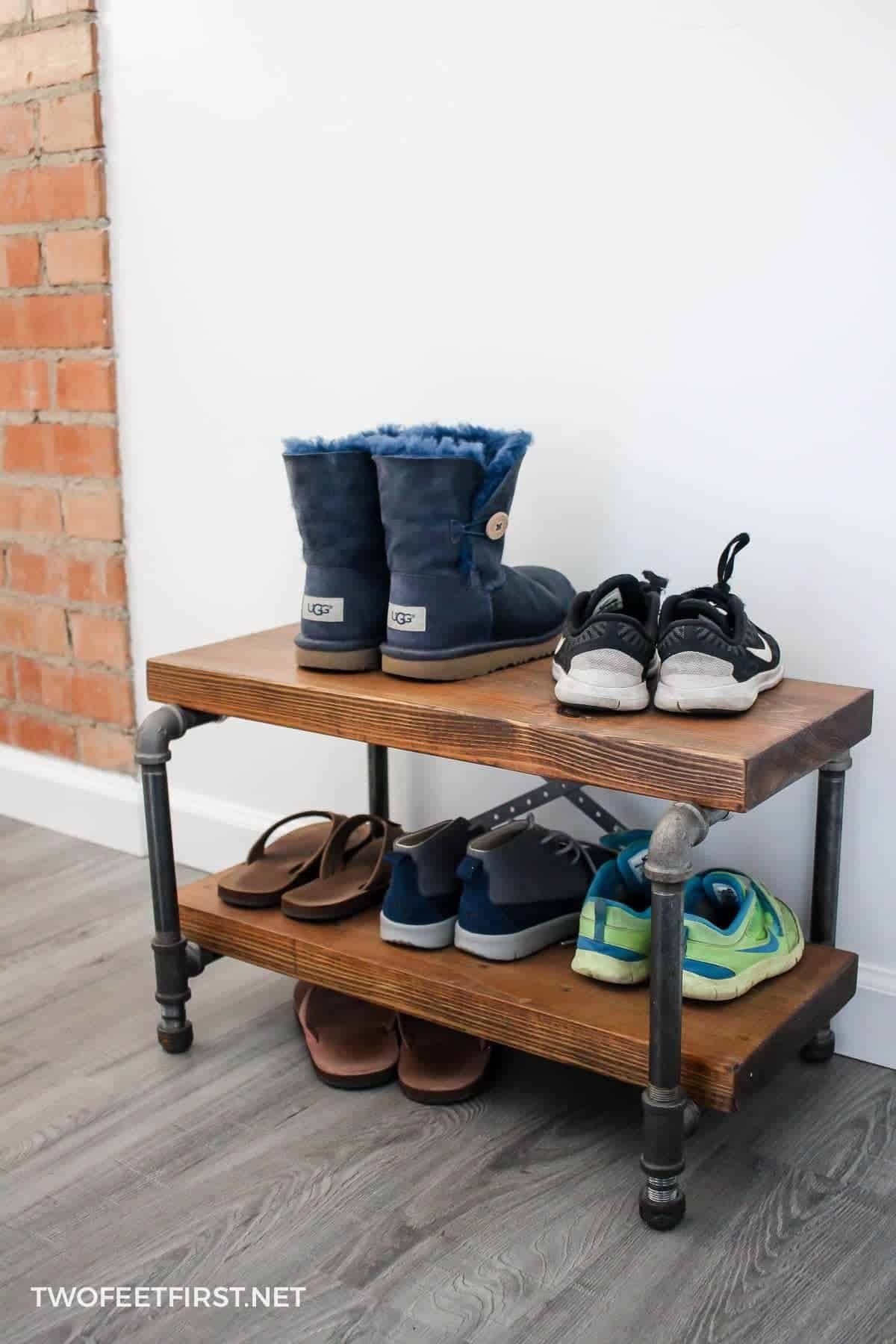 Diy industrial pipe shoe rack