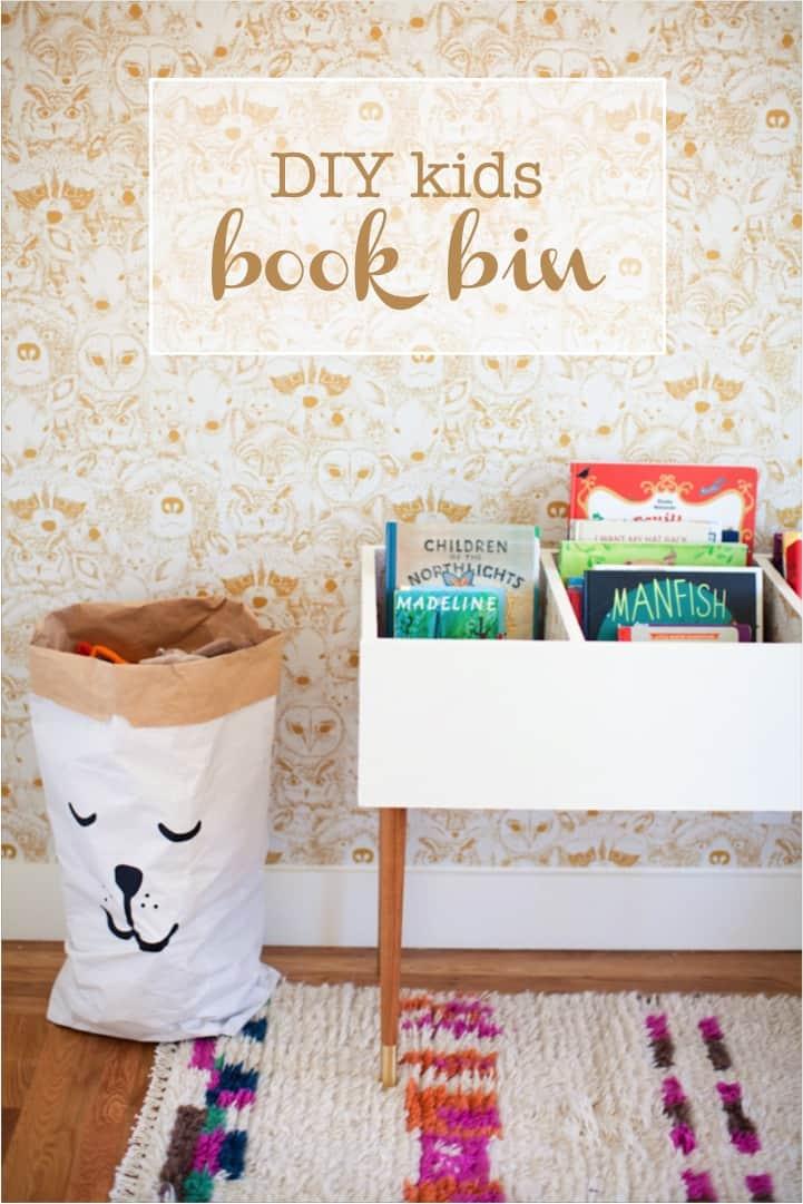 Diy kids room book bin