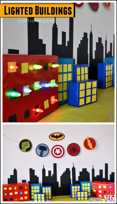 Diy lighted superhero cities