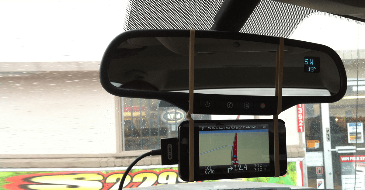 Diy phone gps mount from rubber bands