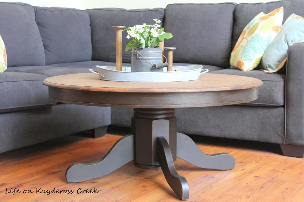Diy rounded farmhouse coffee table