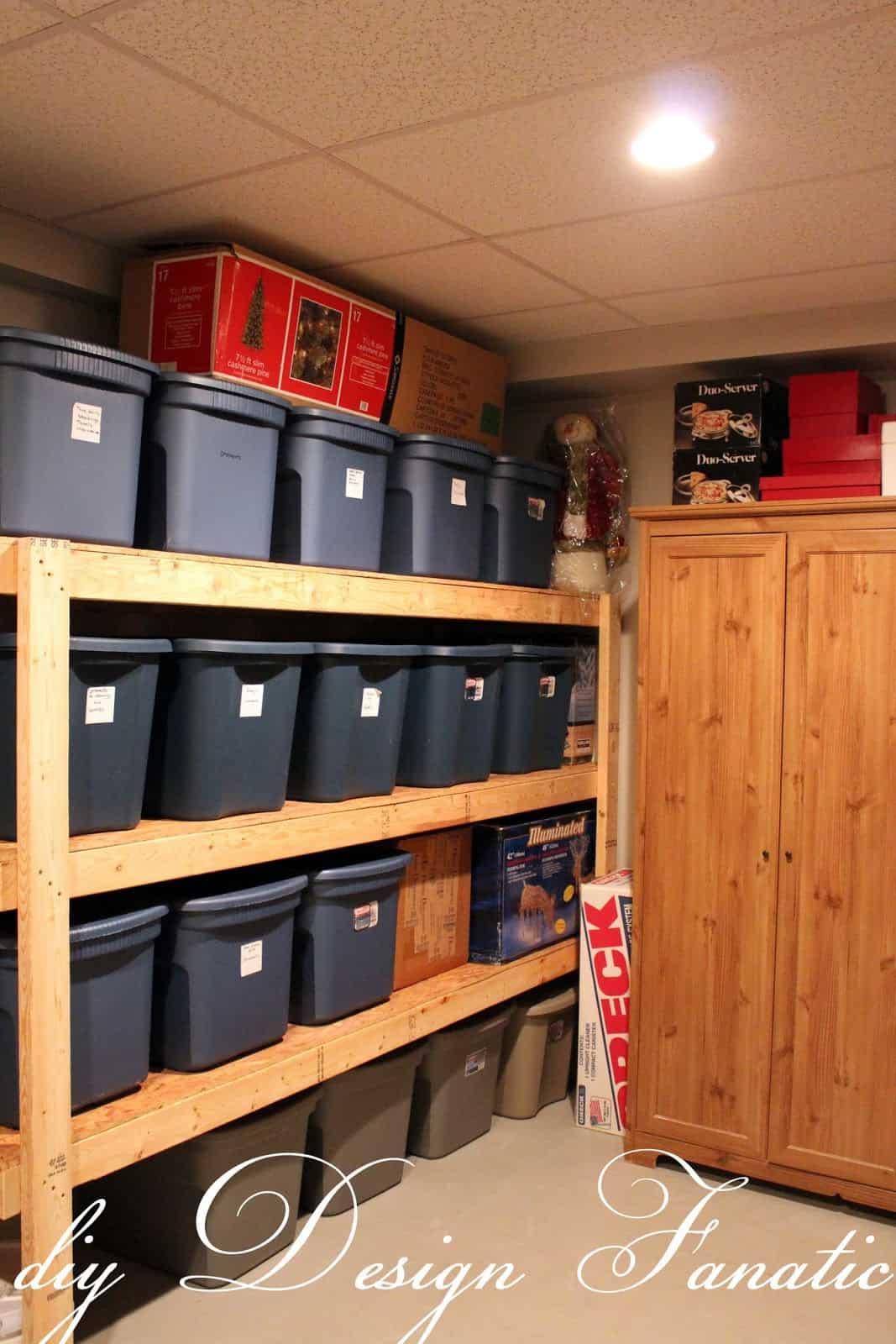 Diy shelf and plastic bins storage