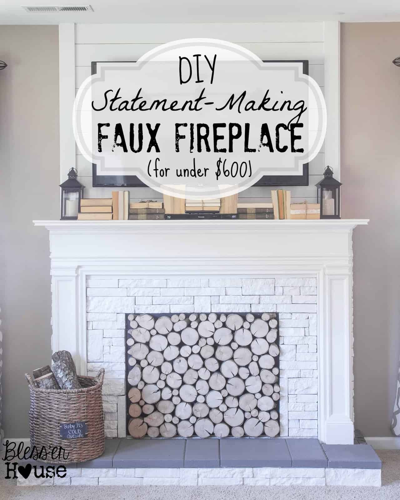 Diy statement faux mantel with brickwork and log ends