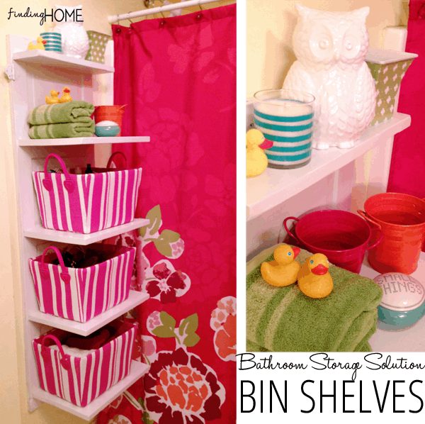 Diy vertical shelves with storage bins