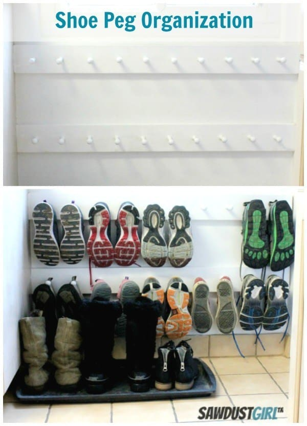 Diy wooden wall peg shoe organizer