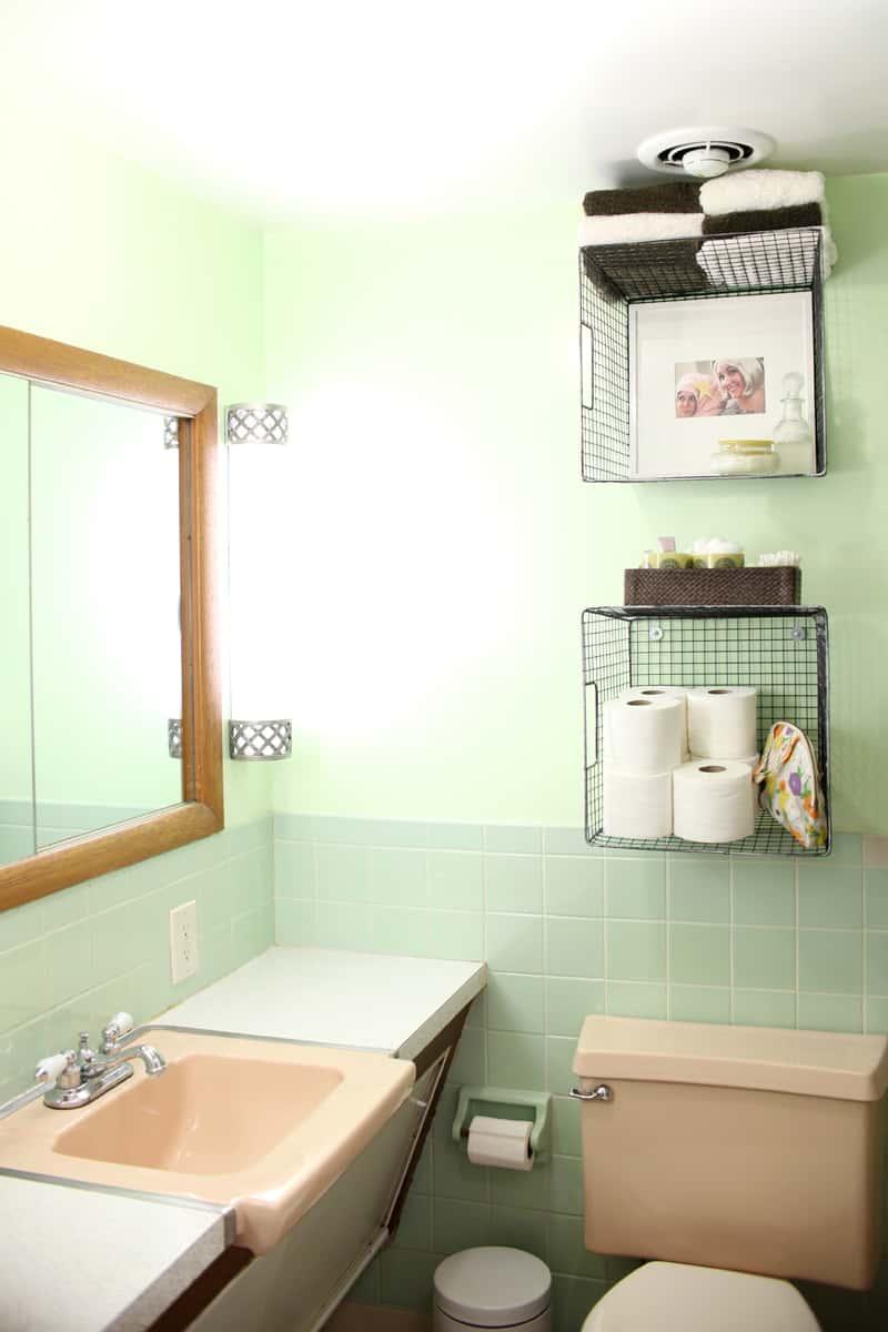 Diy bathroom hanging basket shelves