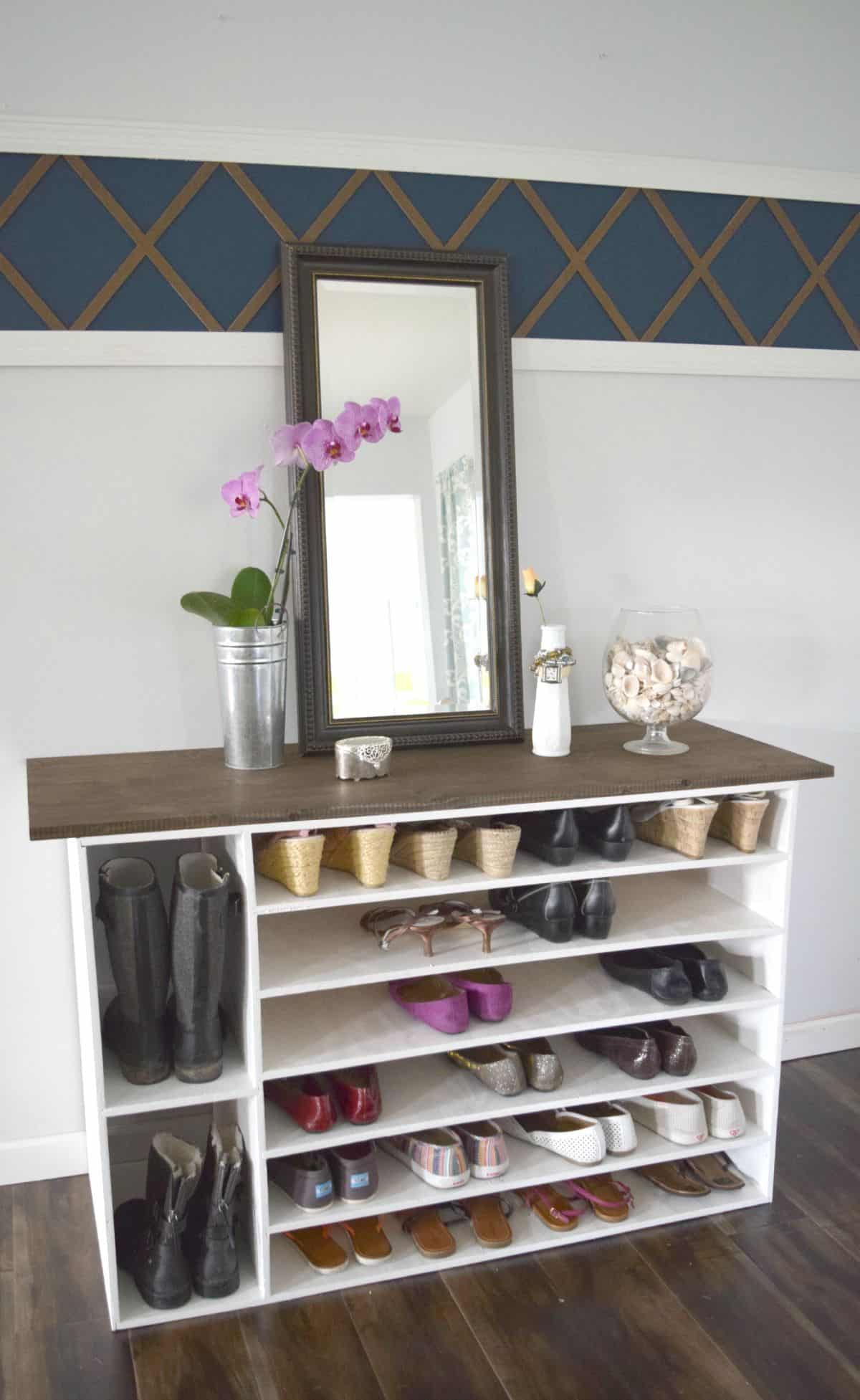 Dresser to multi height shoe rack