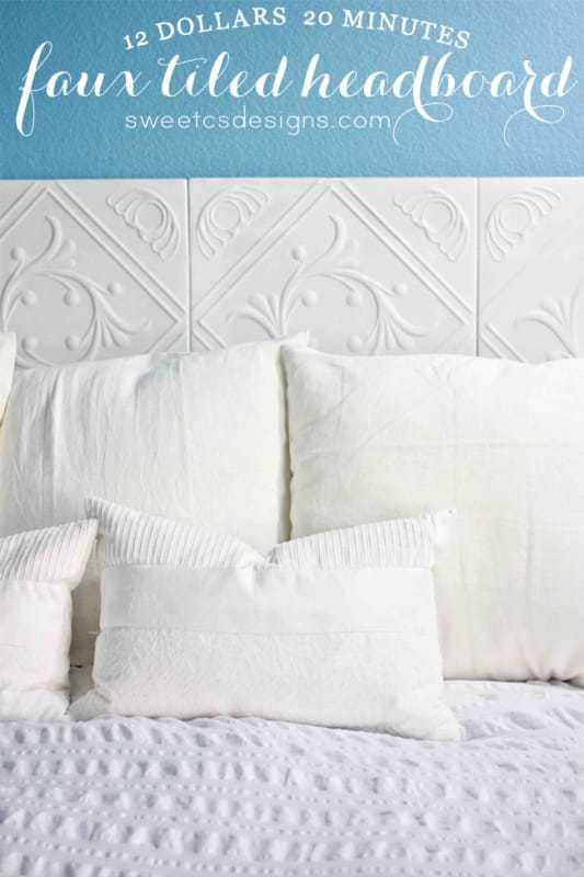 Easy, affordable faux tiled headboard