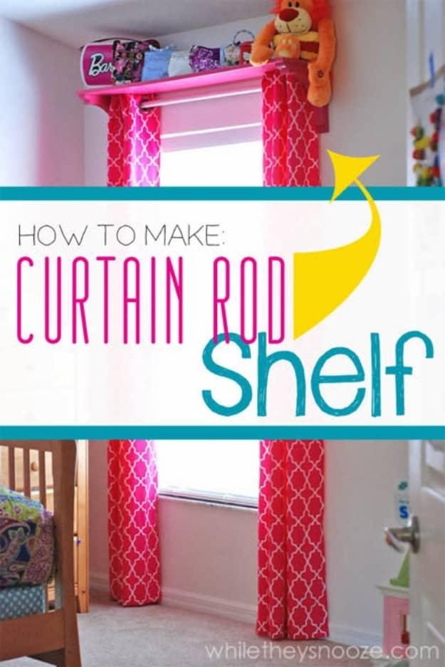 Easy curtain rod shelf