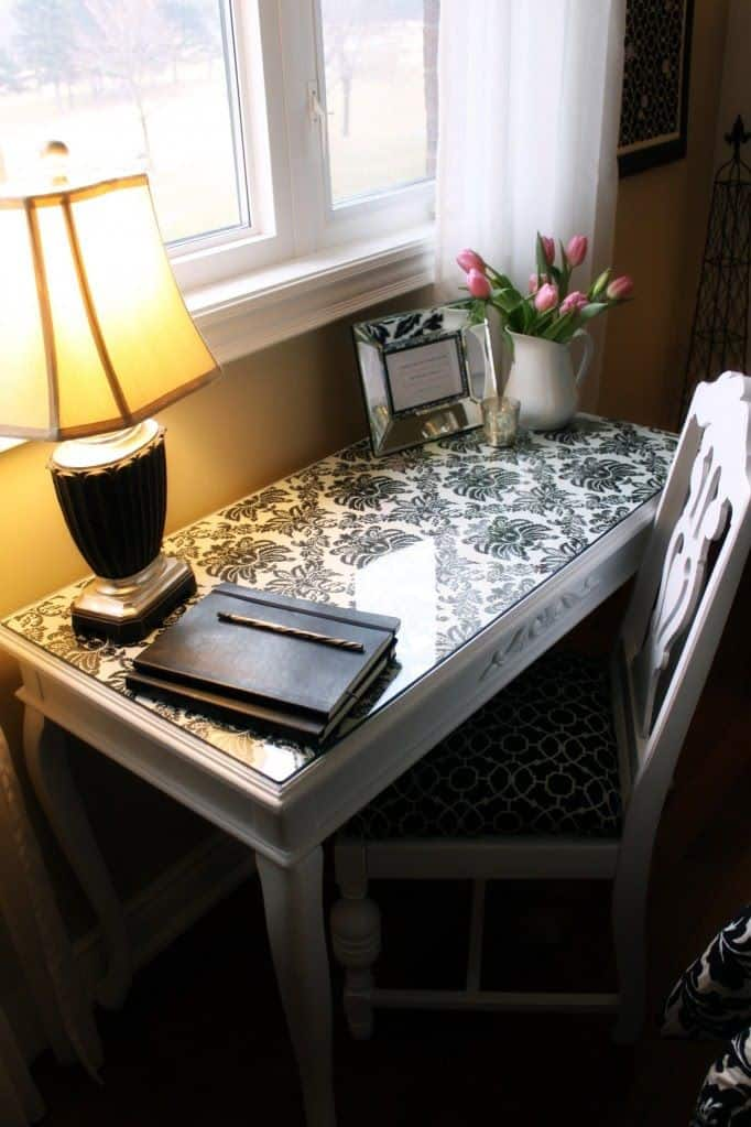 Fabric layer glass writing desk