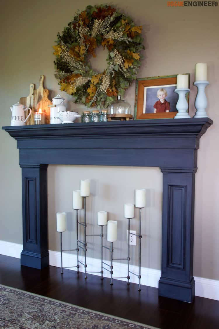 Faux fireplace and mantel surround