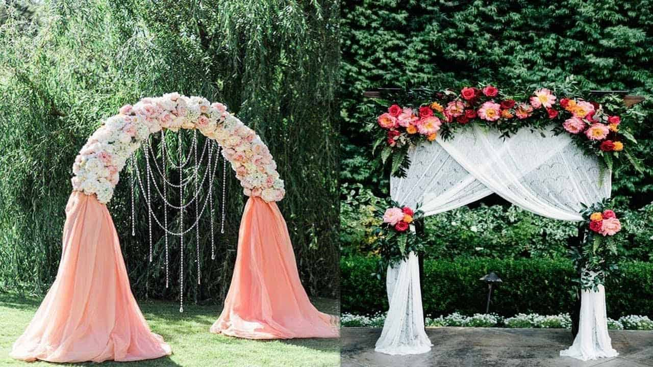 Flower, fabric, and hanging bead arch