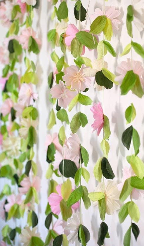 Flower garland backdrop