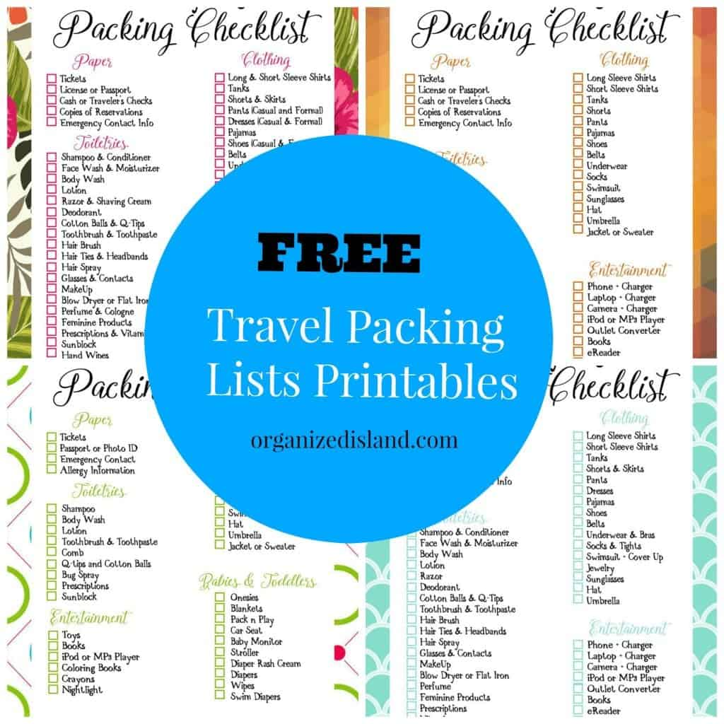 Free travel packing list printables