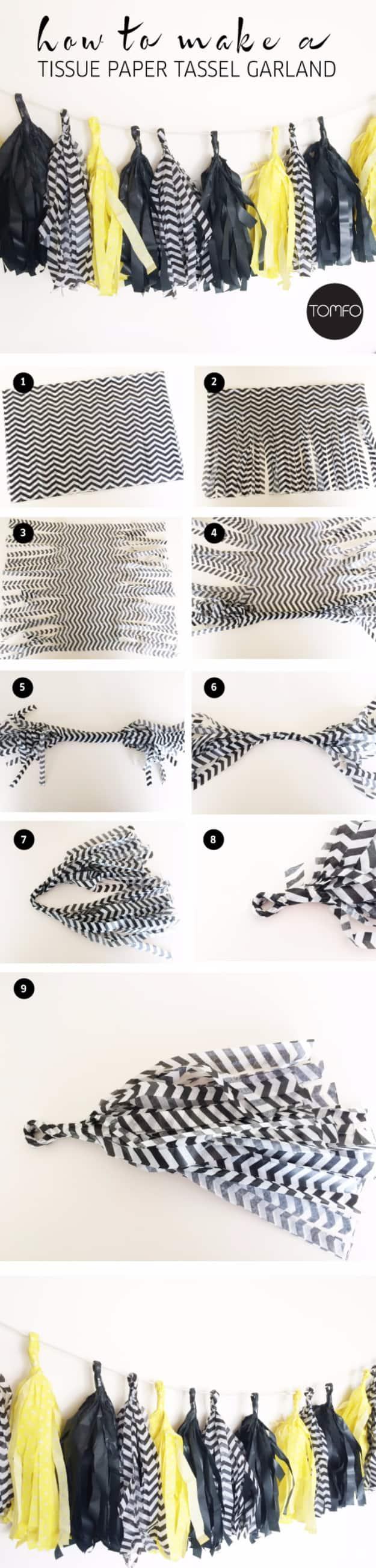 Fringed tissue paper garland