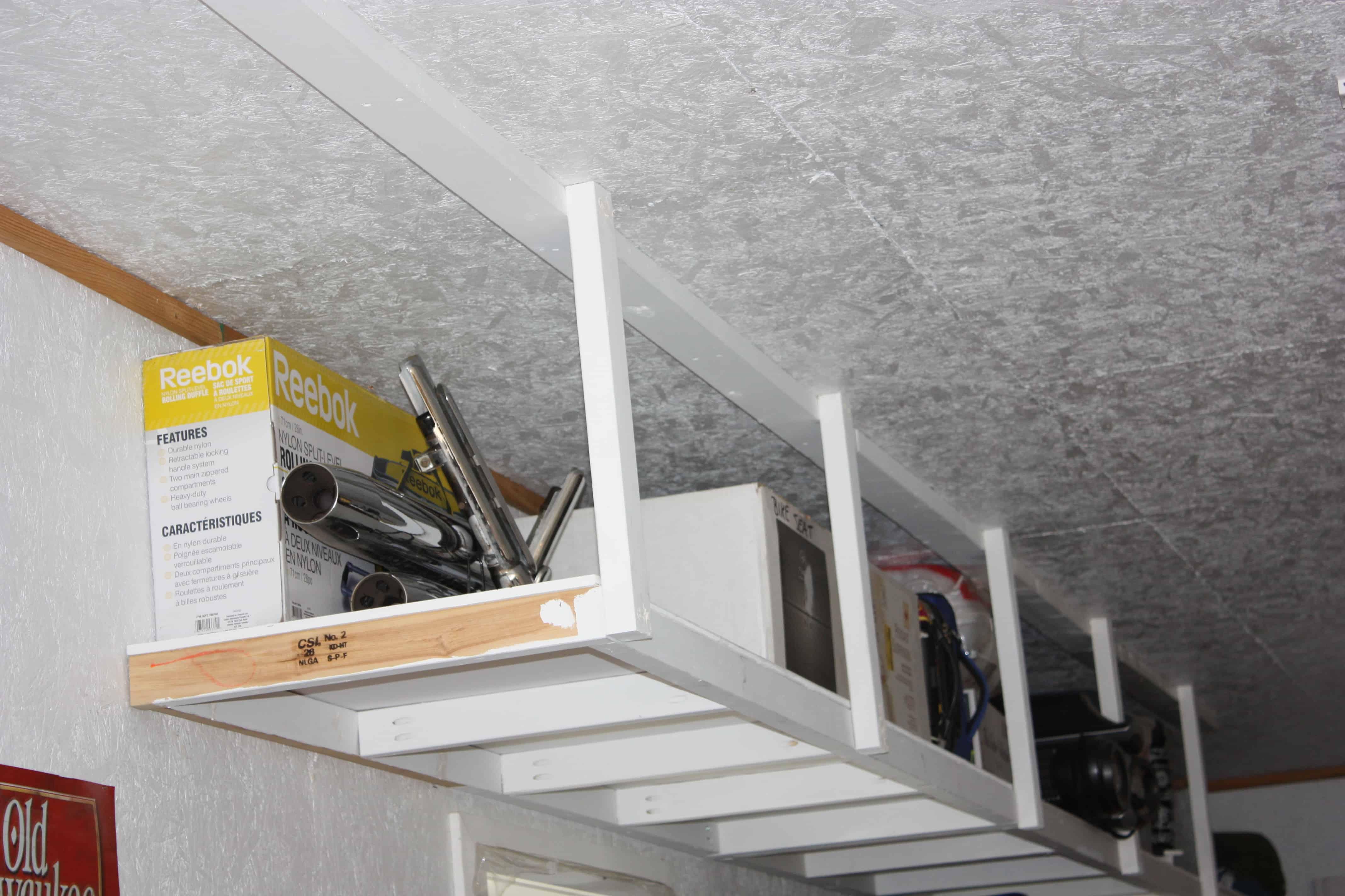 Garage ceiling mounted storage