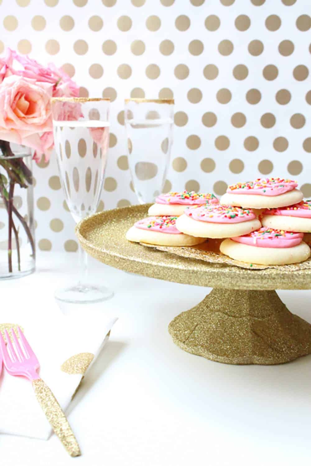 Glitter and decoupage cake stand