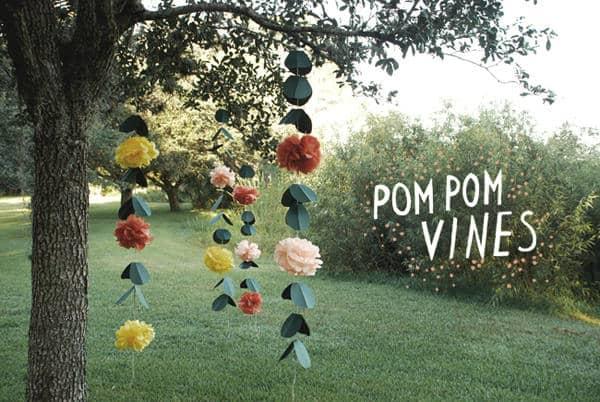Hanging floral pom pom vines