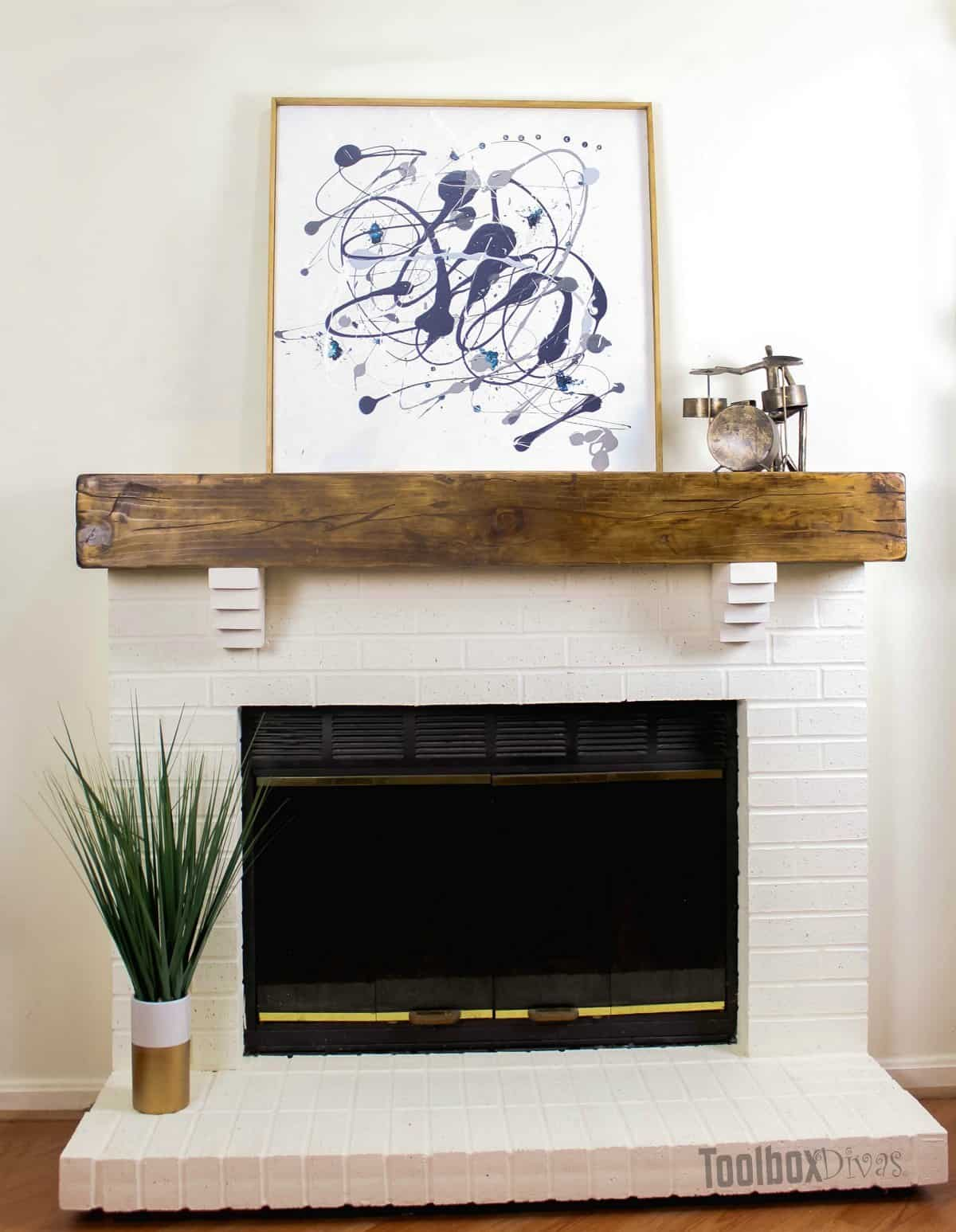 Homemade basic rustic faux beam mantel